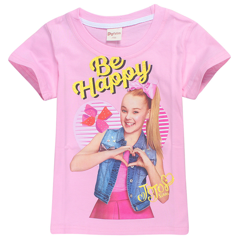 Summer Kids T-shirt Birthday Jojo Siwa Loose Casual Girl Children Heart Top Gift
